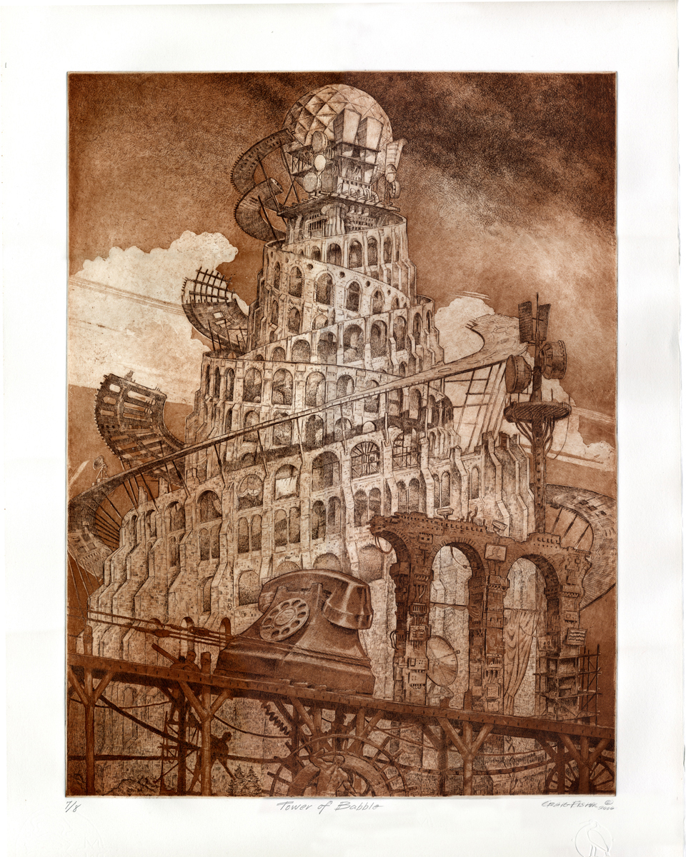 Tower of Babble_colored intaglio CMF etching_by Craig Fisher_24 x 18inches_Artist_s Proof
