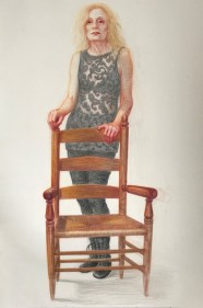 Pat Duff with 'the' Chair by John Hegarty by